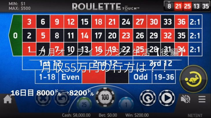 【カジノの虎の穴#11 ルーレット】1カ月(25日間)オンラインカジノ生活【後編】目標月収55万円❣️
