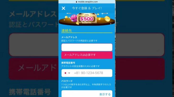 2020年版ベラジョンカジノ登録画面